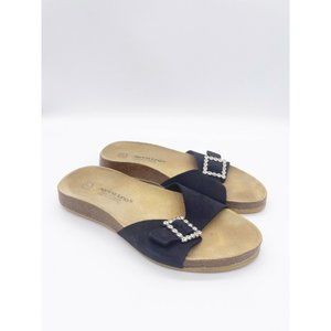 Marina Luna Comfort SANDALS Size 7 Black Jewel Acc